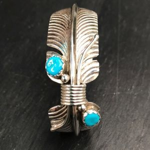 Sterling Silver and Turquoise Feather Bracelet